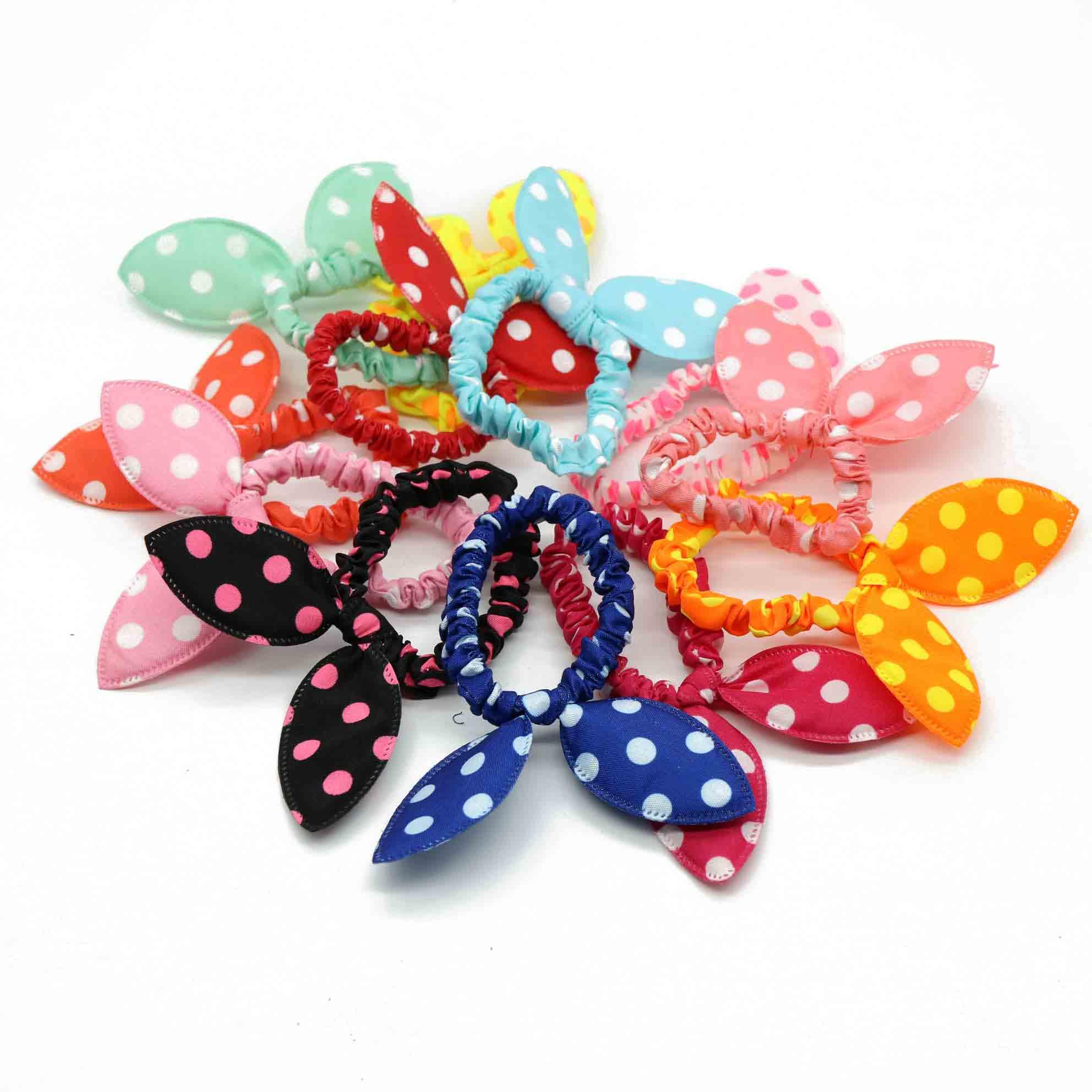 #AD17027 12pcs/lot Rabbit Ears Hair Gum/Tie Rezinochki Bright Color Rubber Band For Hair Children Women Suitable