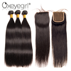 3 Bundles Human Hair Bundles With Closure Brazilian Hair Weave Bundles With Closure Straight Hair Lace Closure Oxey girl Nonremy