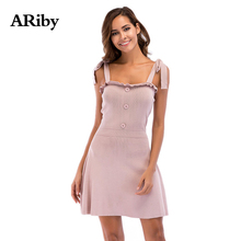 ARiby Women Sweet Pink Sling A-word Dress 2019 Summer New Fashion Solid Sleeveless Lace-up Knitted Strap Vestidos
