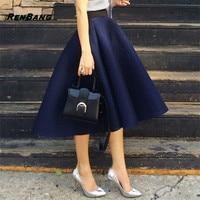 RENBANG 2018 כחול Mesh כדור שמלת חצאיות מוצקות בציר נשים השחור גבוה מותן חצאיות מותן אלסטיות לבן יין אדום