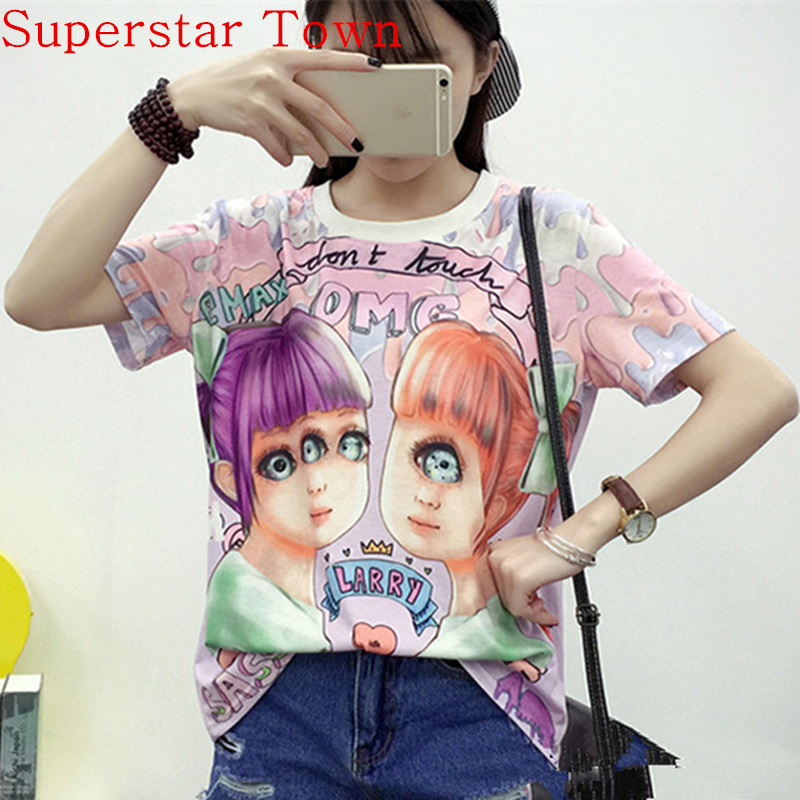 Casual Blusa Peplum Tops Harajuku Shirt lolita Ropa Cute Clothing Cute Women T Shirt 2016 Mujer De Marca Cartoon Summer Tops Tee