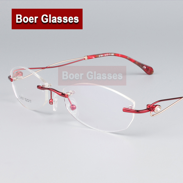 Мода Очки Женщины Оправы для очков свет Очки Без Оправы Близорукость Зрелище Оптический Рецепту Очки 601 (52-17-140)