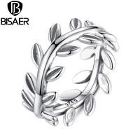 New Collection Authentic Laurel Wreath Laurel Leaves Ring 100% Fashion 925 Sterling Silver Jewelry WEU7156