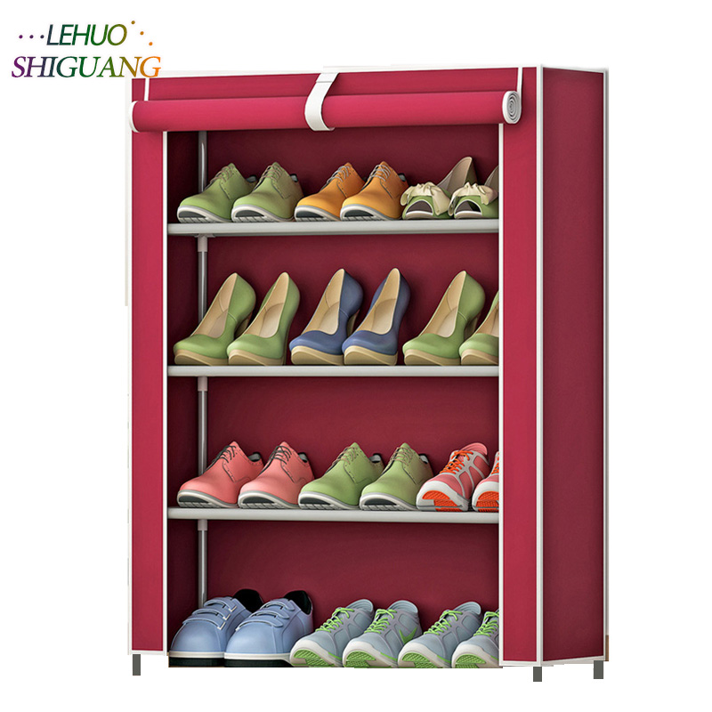 Shoe cabinet 4 layer 3-grid stainless steel fabrics large shoe rack organizer removable shoe storage for home furniture 12 grid diy assemble folding cloth non woven shoe cabinet furniture storage home shelf for living room doorway shoe rack