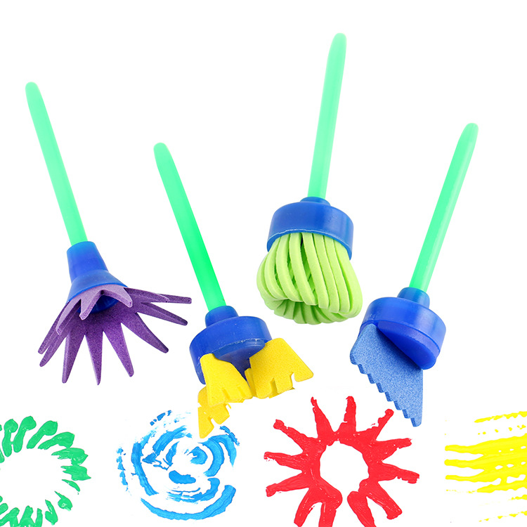 4pcs/set Rotate Paint DIY Drawing Flower Sponge Brushes Kids EVA Art And Crafts Brushes Painting Tool Children Educational Toys