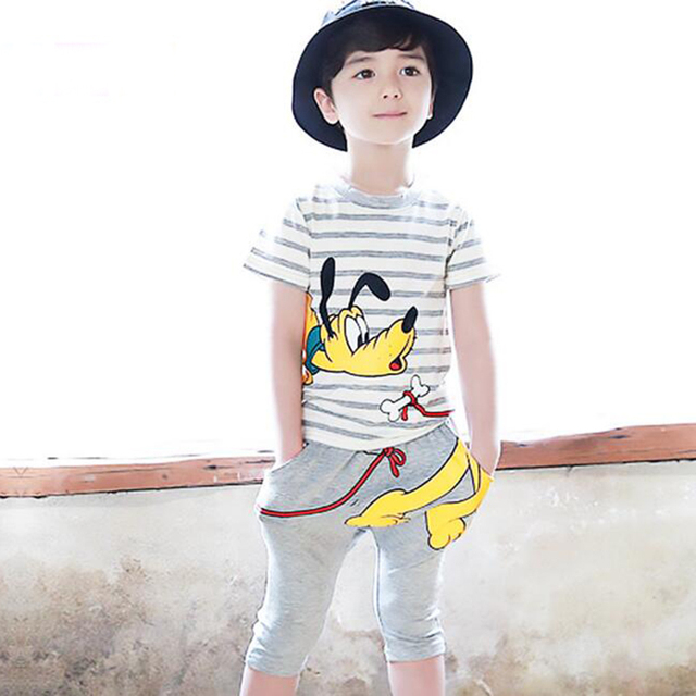 Summer Clothing Set Boys T-Shirt + Fifth Pants 2pcs Kids Clothes Child Suit Children Cotton Cartoon Dogs Teenage Fashion Costume