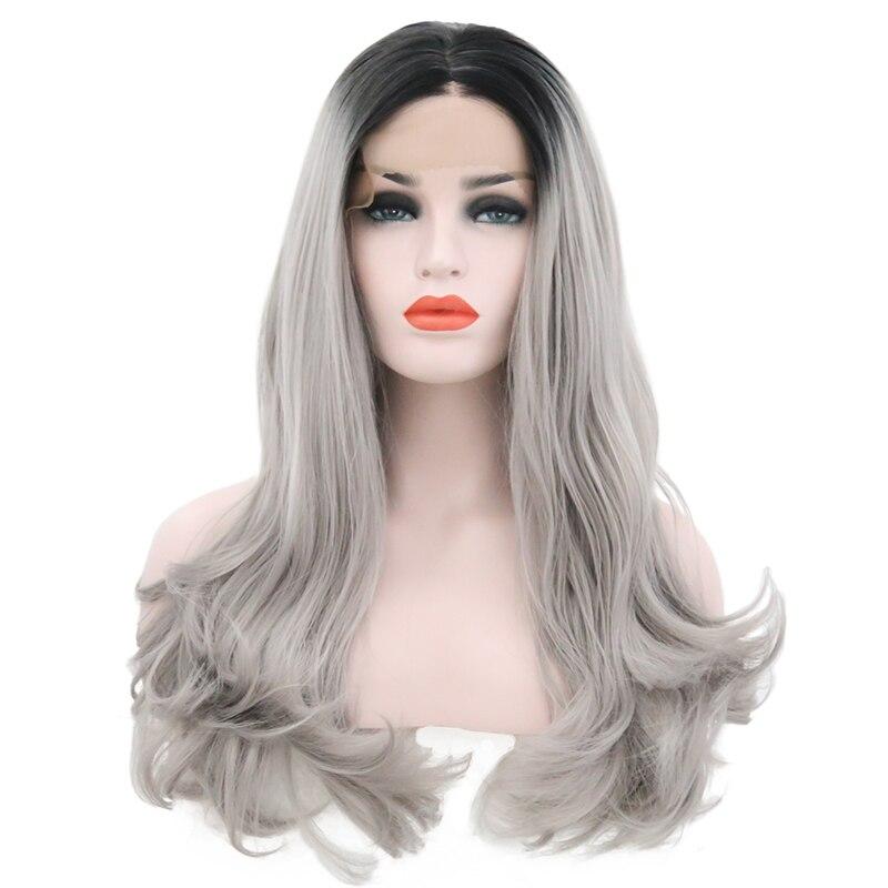 raízes escuras longa onda natural prata cinza substituição completa peruca