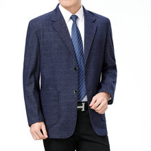 WAEOLSA Men Casual Blazers Elegance Suit Coats Male Blue Gray Blazer 2 Buttons Top Fly Masculino Plaid Pattern 3XL