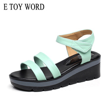 E TOY WORD Platform Sandals genuine leather low wedge sandals Wild Breathable Shoes Women Casual Fashion woman summer Sandals muyang chinese brand summer open toe shoes woman genuine leather wedge platform sandals fashion 2017 casual wedges women sandals