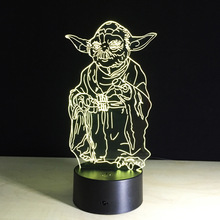 3D Star Wars Yoda LED Light