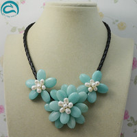 Unique Pearls jewellery Store Natural White Freshwater Pearl Jades Flower Leather Necklace Perfect Women Wedding Birthday Gift