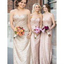Rose Gold Long Sequin Bridesmaid Dresses for Wedding Party Sleeveless Ruched Sweetheart Bridesmaid Prom Gown 2017 casamento PB69