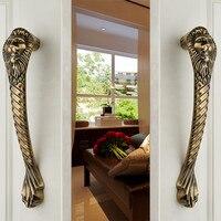 31cm European retro door glass door sliding door handle thickened solid KTV office Home wooden lion head bronze door handle pull