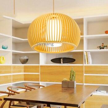 Bois Pendentif Lumières LED Cuisine Lumières Chevet Lampes Suspendues Chambre Salon Vintage Décor à La Maison Luminaires