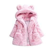 Baby Girls Winter Coat Rabbit Ear Hooded Children Jacket For Girls Outerwear Faux Fur Fleece Kids