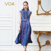 VOA Ipek Jakarlı Midi Pileli Elbise Kadın Elbise Vintage Lavanta Mor Yaz Kısa Kollu Zarif Ince V Boyun Cepler A303