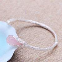 Real Pure S990 Sterling Silver Bangle Women Setting White Pink Gardenia Natural Crystal Handmade Vintage Bracelet