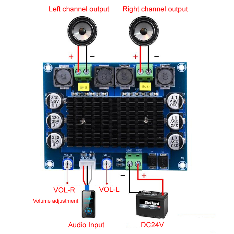 Image 2 - TDA7498 2.0 Digital Power Amplifier Board 100W*2 Dual channel Stereo Audio class d amplifier for speaker DC12 32V-in Amplifier from Consumer Electronics