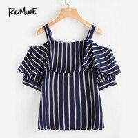 ROMWE Women Open Shoulder Layered Striped Top Summer 2017 Woman Navy Half Sleeve Ruffle Blouse Tunic