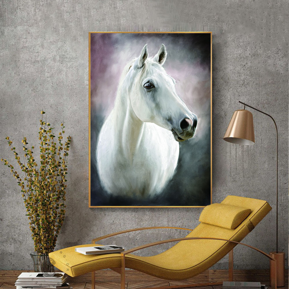Animal Wall Art Modern Abstract White Horse Oil Painting ...