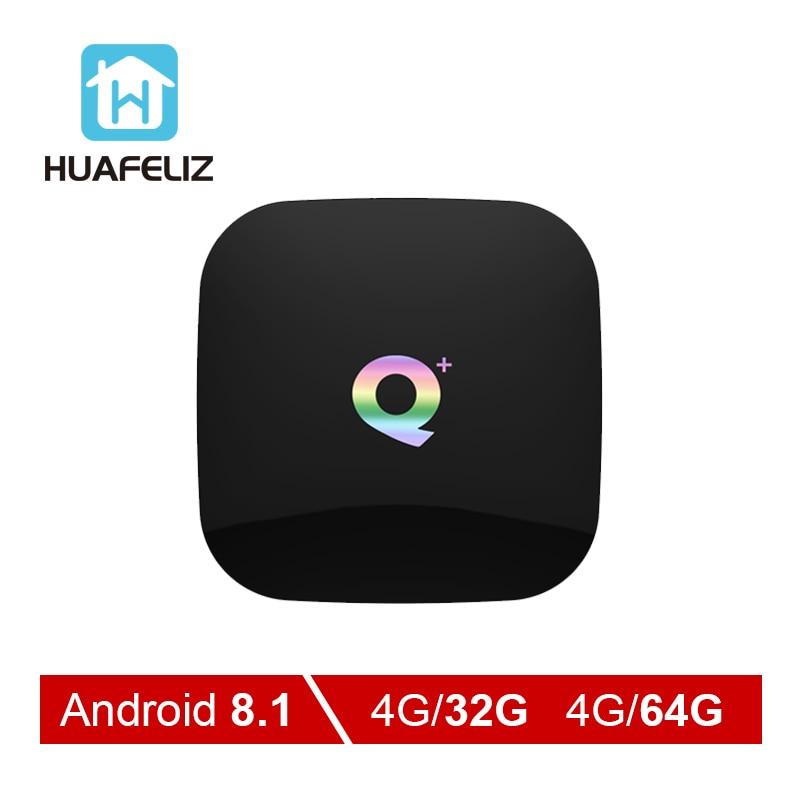 T95 Q Plus tv boîte 4 GB 64 GB TV box Android 8.1 H6 Quadcore cortex-A53 2.4 GHz Double Wifi AUCUN BT 100 M 6 K lecteur multimédia boîtier de smart tv
