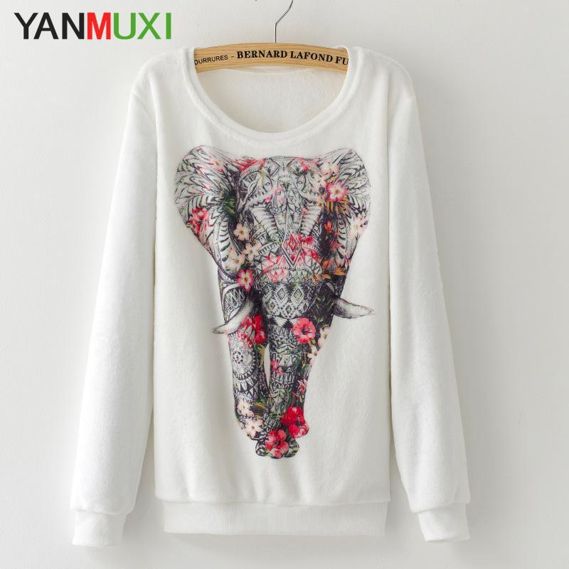 2017 Streetwear Women's Winter Sweaters Casual Long Sleeve Love Heart Elephant Print Pullover Autumn Warm Sweater Women 1