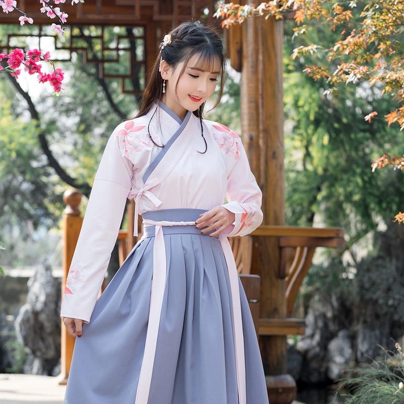 Hanfu Autumn Dress Female Improvement Chinese Style Costume Fairy Elegant Fresh and Elegant Student Ancient Wind Skirt Set