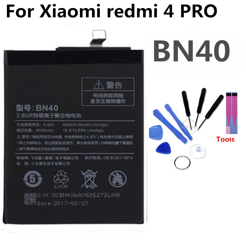 BN40 Mobile Phone Battery For Xiaomi redmi Pro Prime 3G RAM 32G ROM Real Capacity 3400mAh Replacement Li-ion