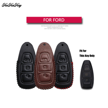 Genuine Leather Remote Keyless Car Key Case Cover For Ford Mondeo Escape Focus Mustang EVEREST Fusion Shell Bag