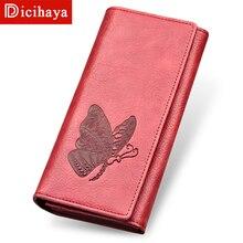 DICIHAYA женский кошелек, Длинный кошелек, чехол для телефона, тисненый узор с бабочками, кошелек, Женский кошелек для монет, держатель для карт, Carteira Feminina