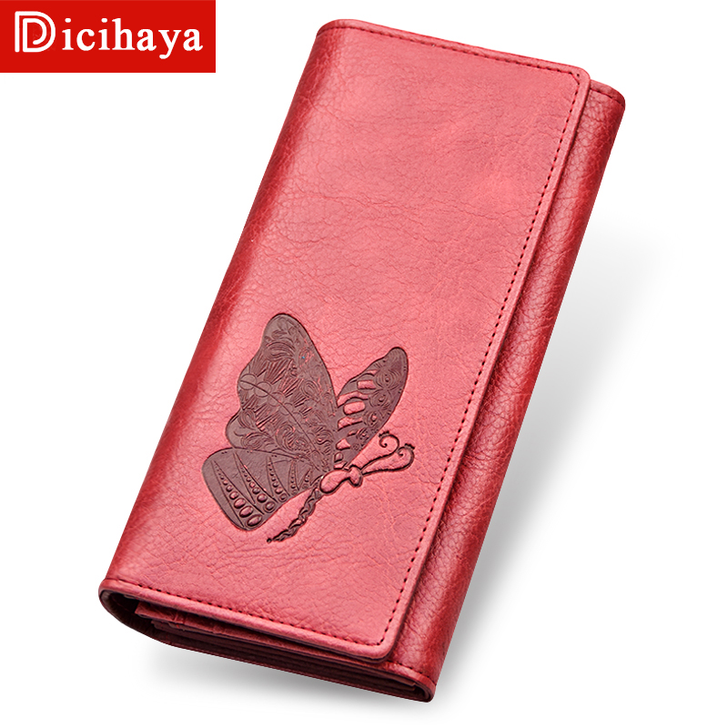 DICIHAYA Women Wallet Long Purse Phone Pouch Butterfly Embossing Wallet Female Coin Purse Card Holders Carteira Feminina