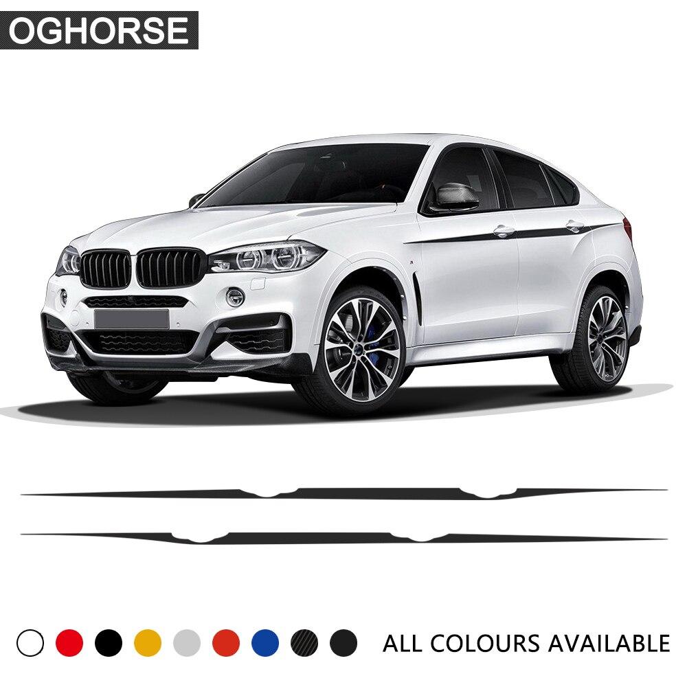 Autocollants de ligne de taille de style de voiture M rayures d'accent de Performance pour BMW X5 F15 F85 X6 M F16 F86 autocollant graphique de décalque de vinyle de carbone