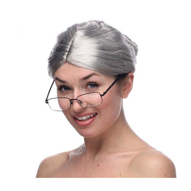 Горячие Продажи Короткие Парики Для Женщин Бесплатная доставка Новая Мода Серый Бабушка Парик Старушка Бабушка Бабушка Парик