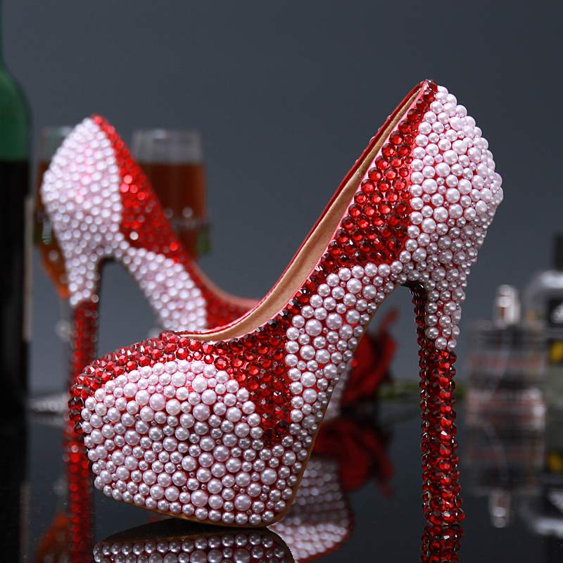 ФОТО Free shipping Women 14cm high heels sexy pumps 2017 Fashion Style women Red and white Mixed Colors platform Wedding shoes