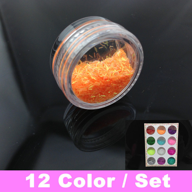 12 Colors Nail Art Strip Lace Glitter Paillette Powder Spangles Decoration For UV Nail  + Free Shipping