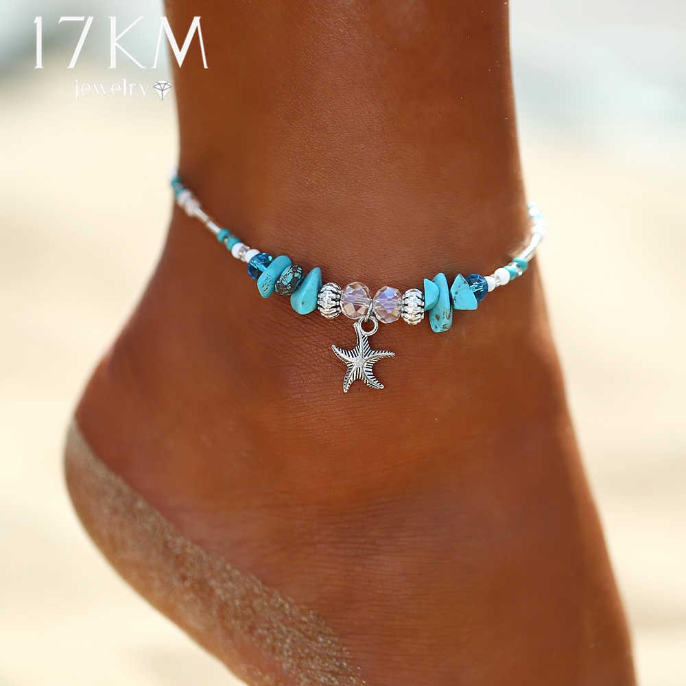 ヒトデペンダントアンクレット 2019 女性の新しい石ビーズシェルアンクレットボヘミアンブレスレット脚自由奔放に生きるオーシャン宝石ドロップ無料