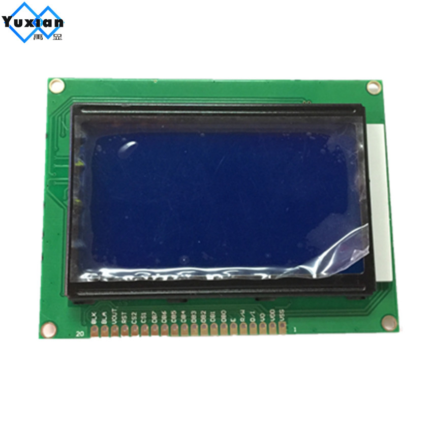 Free shipping 1pcs  12864  lcd display module STN blue screen white backlight  5v standard graphic  KS0108 WH12864A size 93*70mmFree shipping 1pcs  12864  lcd display module STN blue screen white backlight  5v standard graphic  KS0108 WH12864A size 93*70mm