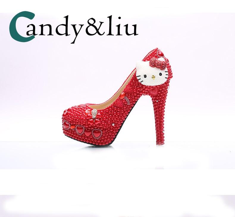 Taille Mariée Pour Mariage Haute 8cm Strass red Avec Lady À Talon Heel Chaussures Main Red 11cm Peral Chat forme Super Grande Plate Pompes Femmes Mignon red La Parti De 14cm red Rouge 5cm HqE7U7