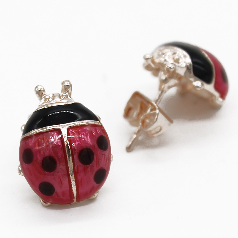 ISINYEE Fashion Cute Ladybug Insect Stud Earrings For Women Girls Kids 2017 Small Jewelry Brincos Childrens Day Gifts