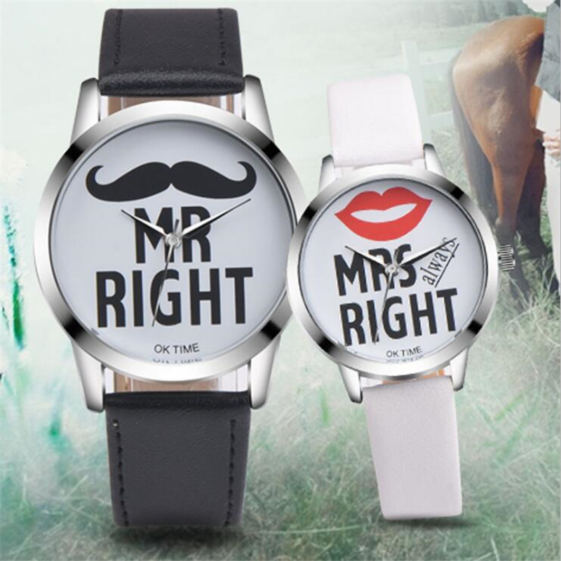 Fashion Lovers Watches Beard Lipstick Printed Leather Strap Quartz Watch Men Sports Clock Women's Dress Wrist Watch Couple Gift