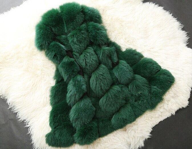 Новое поступление, зимний теплый модный длинный женский жилет из искусственного меха, пальто из искусственного меха, жилет из лисьего меха, женский жилет, большие размеры, S-4XL - Цвет: green