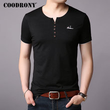 COODRONY Cotton T Shirt Men Short Sleeve T-Shirt Summer Streetwear Casual Mens T-Shirts Henry Collar Tee homme S95001
