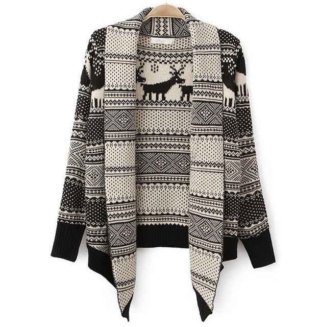 Women New Design Christmas Sweaters Nordic Reindeer Knitted