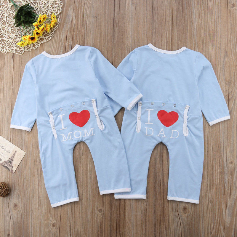 164a29c2b769 Brand New Cute Newborn Baby Boys Girls Cotton Romper Jumpsuit I Love Dad  Mom Outfits Lovely Clothes