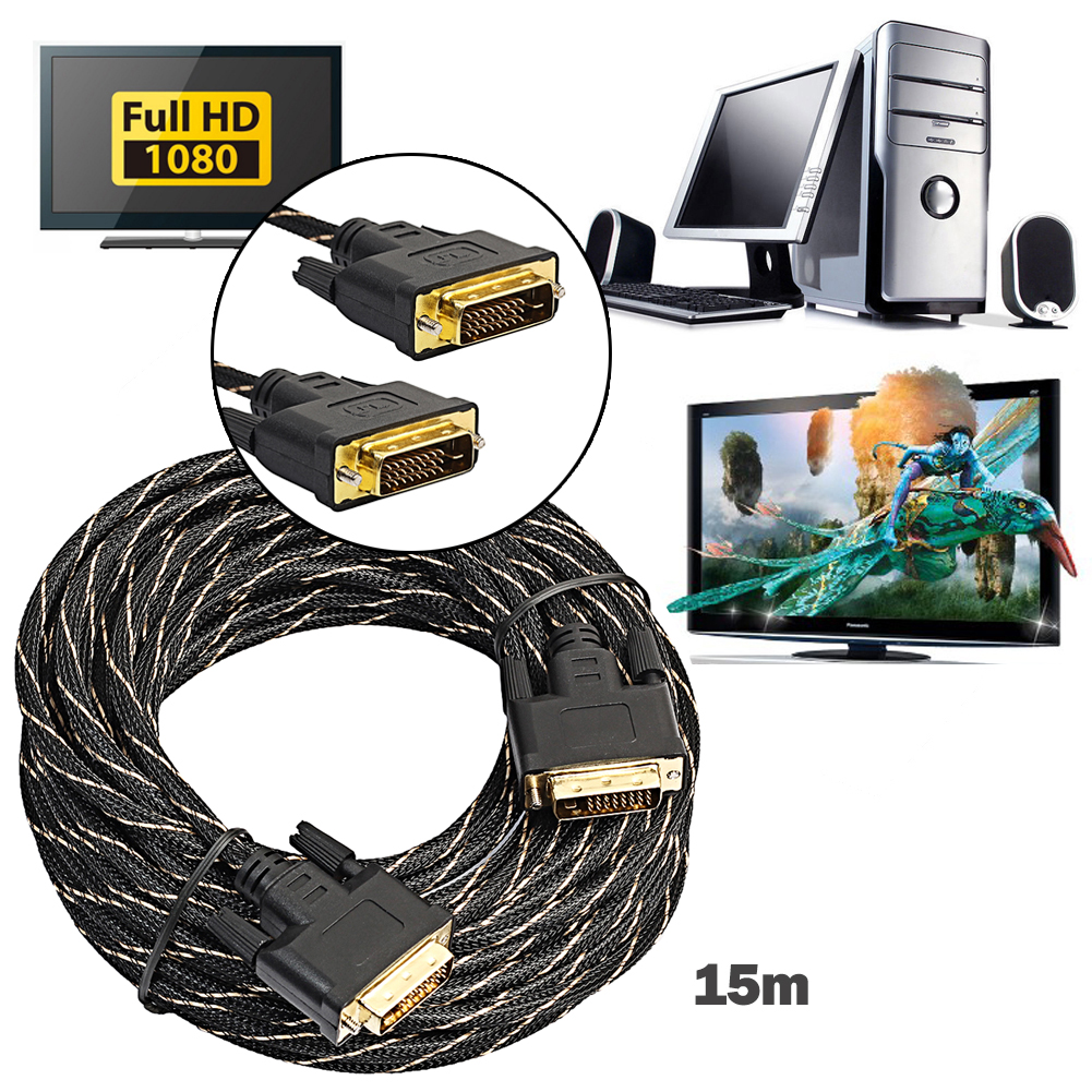 Digital Monitor DVI D to DVI-D 24+1 Gold Male Pin Dual Link HD TV Cable DVI To DVI Cable For Digital CRT Displays 0.5M-3M vention dvi cable dvi d 24 1 cable dvi to dvi cable male to male video cable 3m 1m 2m for computer projector laptop tv monitor