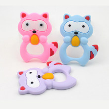 3 Colors Silicone Teethers Animal Cat Baby Ring Teether Silicone Chew Charms Baby Teething Gift Toddler Toys(China)