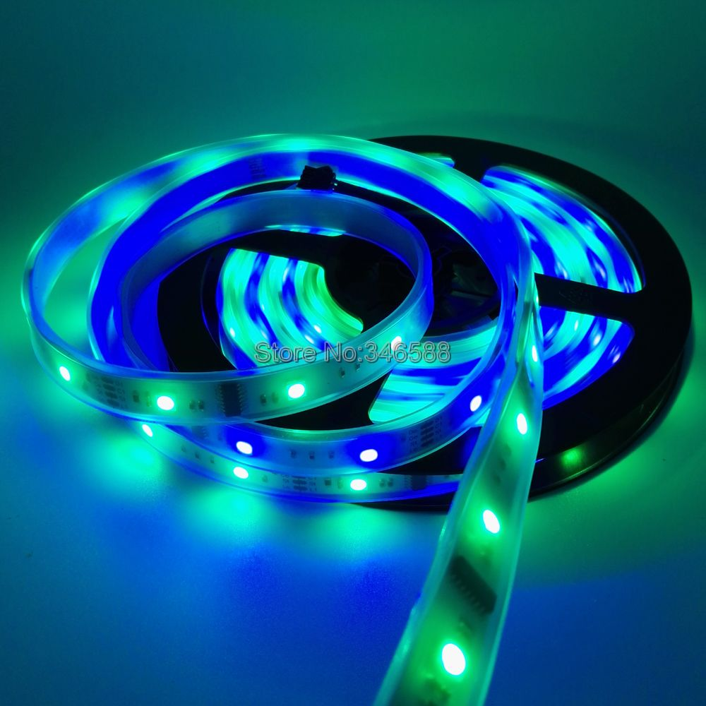 5m 12v 6803 Ic Dream Color Rgb Led Strip 5050 Smd 30led M Ip66 With Light Lifier On Strips Wiring Diagram Waterproof Chasing Magic Tape 133 Program Rf Controller In From Lights