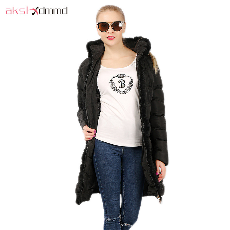 AKSLXDMMD Parkas Winter Women Jacket 2017 New Fashion Rabbit Fur Collar Hooded Thick Padded-cotton Mid-long Coat Female LH1073 akslxdmmd fashion casual winter thick hooded jacket 2017 new parka women parttern letters mid long coat female overcoat lh1227