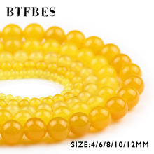 BTFBES Natural Yellow Carnelian Beads Round Loose Ball 4 6 8 10 12mm Stone Bead of Handmade Jewelry Bracelet Necklace Making DIY