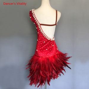 Image 3 - יוקרה פניני נוצת שמלת נשים/בנות ריקוד לטיני ביצועי בגדים למבוגרים ילדים סלוניים ריקוד תחרות תלבושות